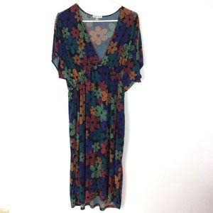 Black floral v-neck dress